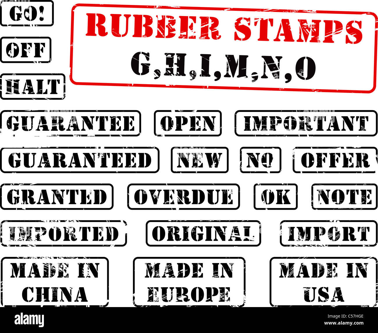 Collection Of Rubber Stamps With Words Begining With Letter G H I