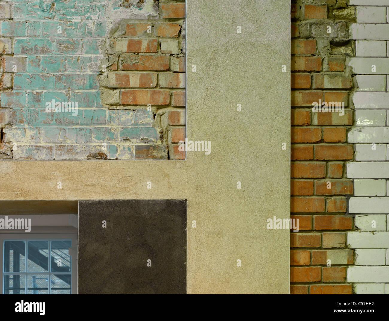 Siobhan Davies Dance Studios, London, 2006. Detail of original brickwork and refurbishment render. - Stock Image