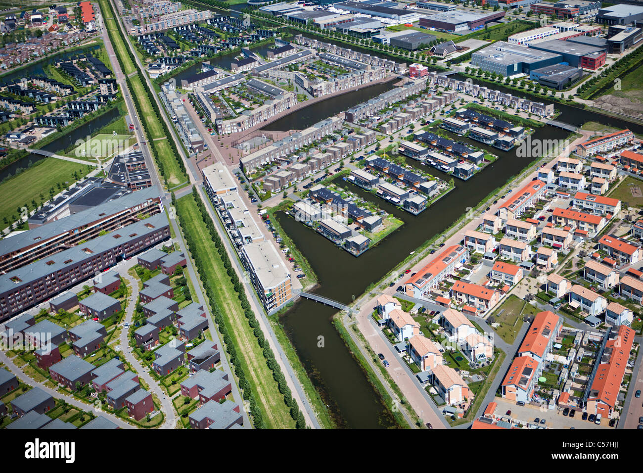 The Netherlands, Utrecht, Modern residential house construction. Aerial. Stock Photo