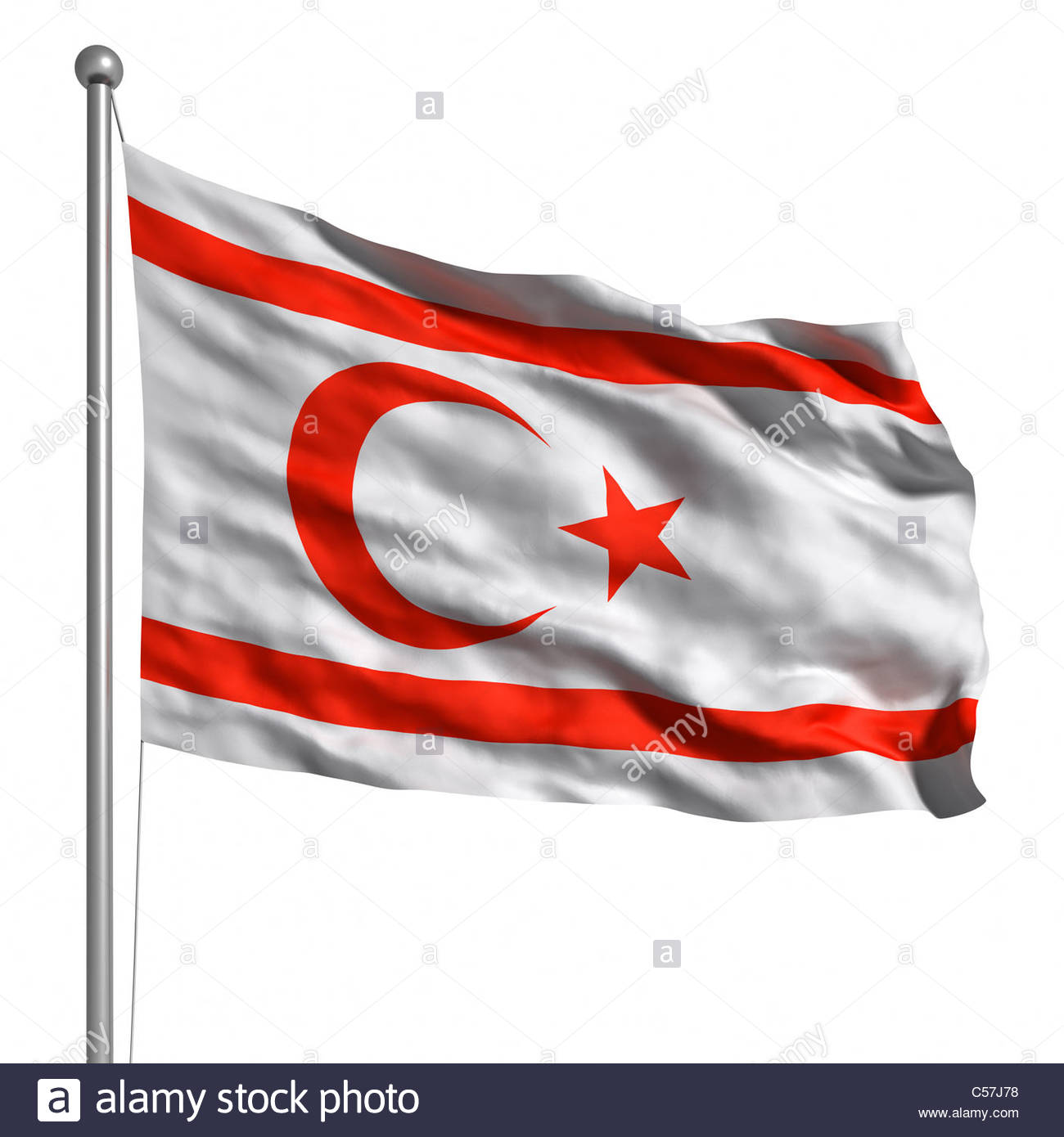 Flag Of Northern Cyprus. Rendered with fabric texture (visible at 100%). Clipping path included. - Stock Image