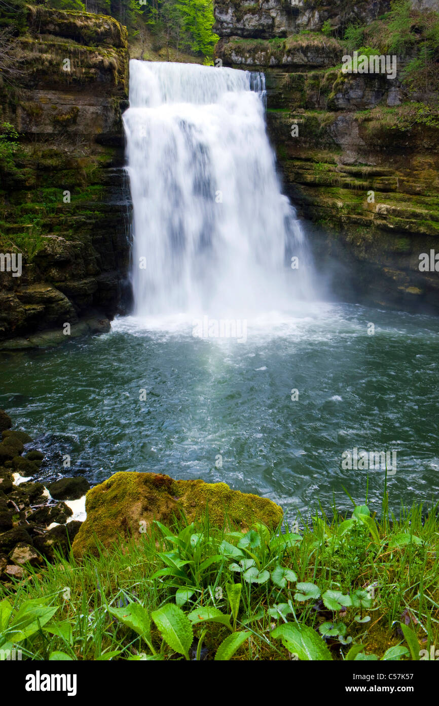 If there makes a mess you Doubs, Switzerland, Europe, canton Neuenburg, Neuenburg Jura, river, flow, Doubs, waterfall, - Stock Image