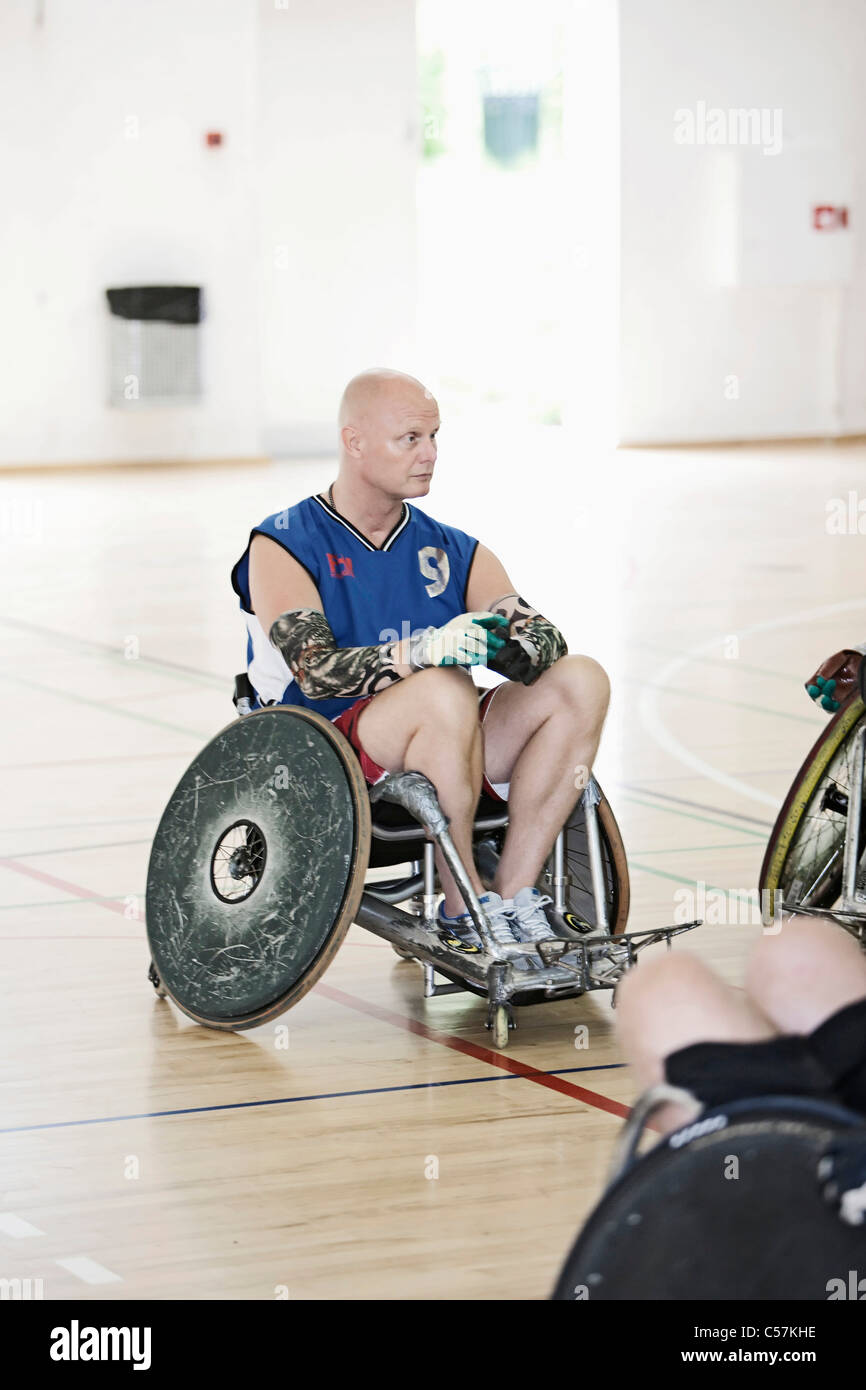 Para rugby player in sports hall Stock Photo