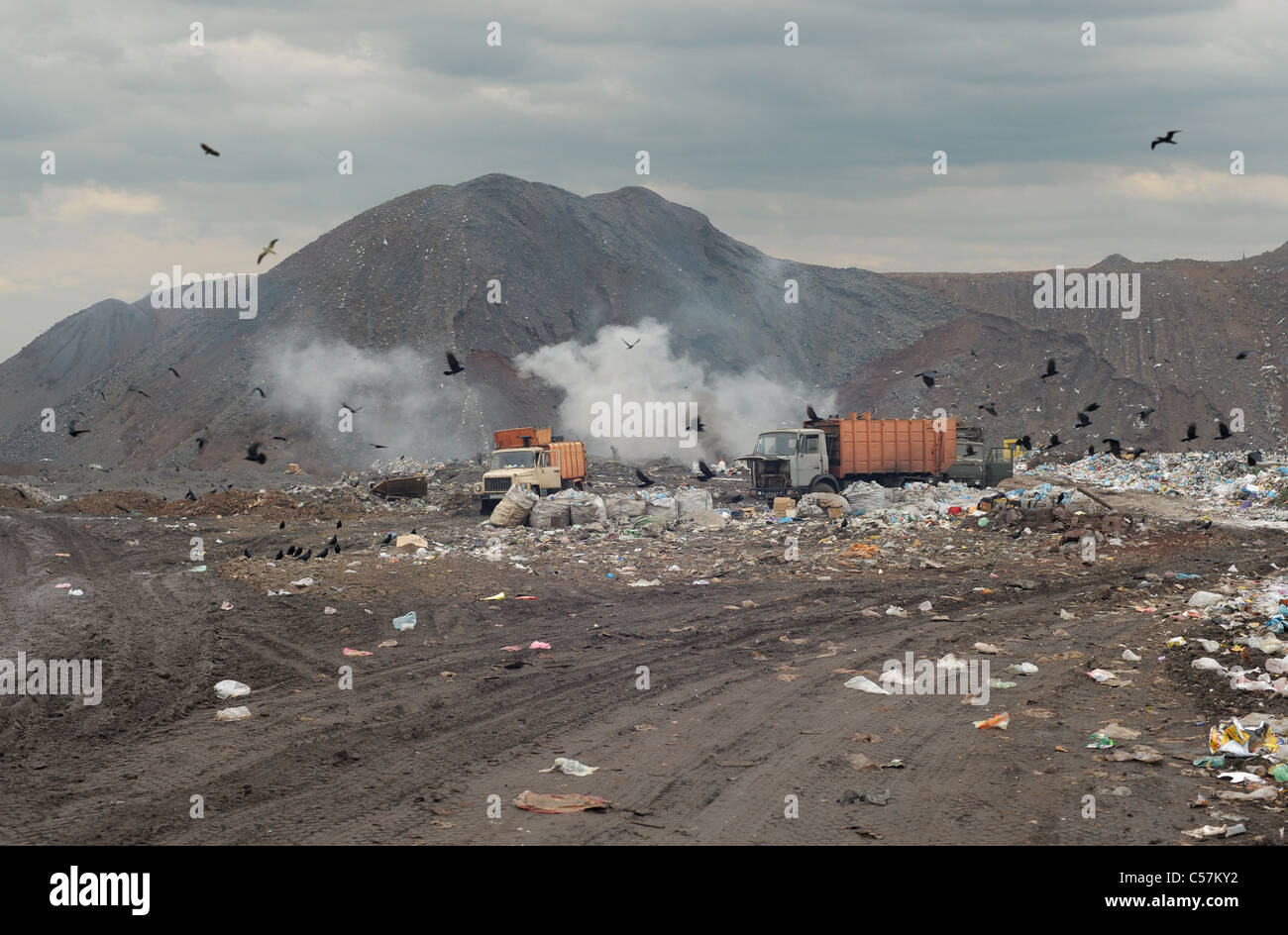 Garbage trucks on a city dump of dust - Stock Image