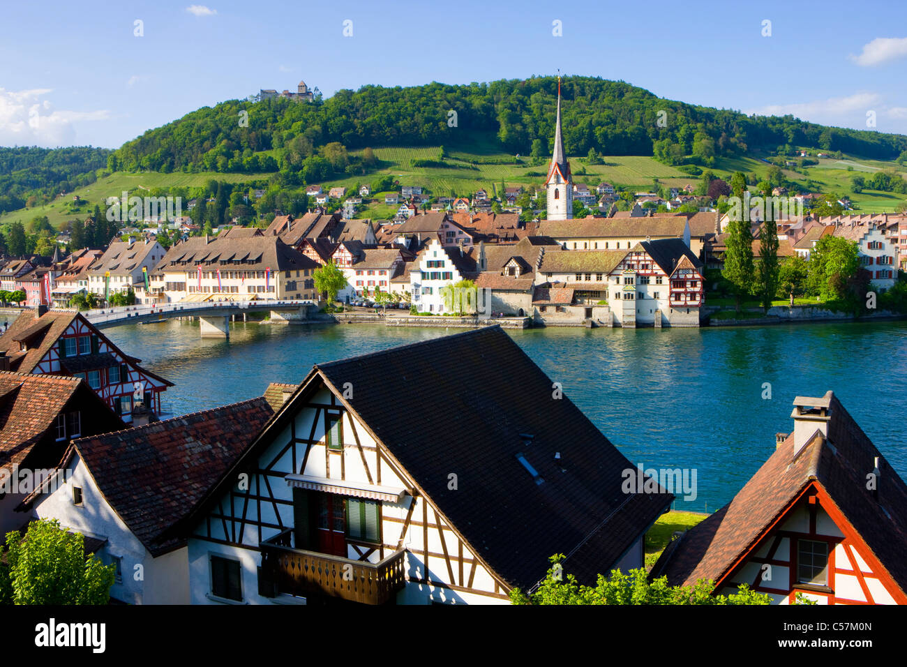 Stein am Rhein, Switzerland, Europe, canton Schaffhausen, provincial town, Old Town, Middle Ages, river, flow, Rhine, - Stock Image