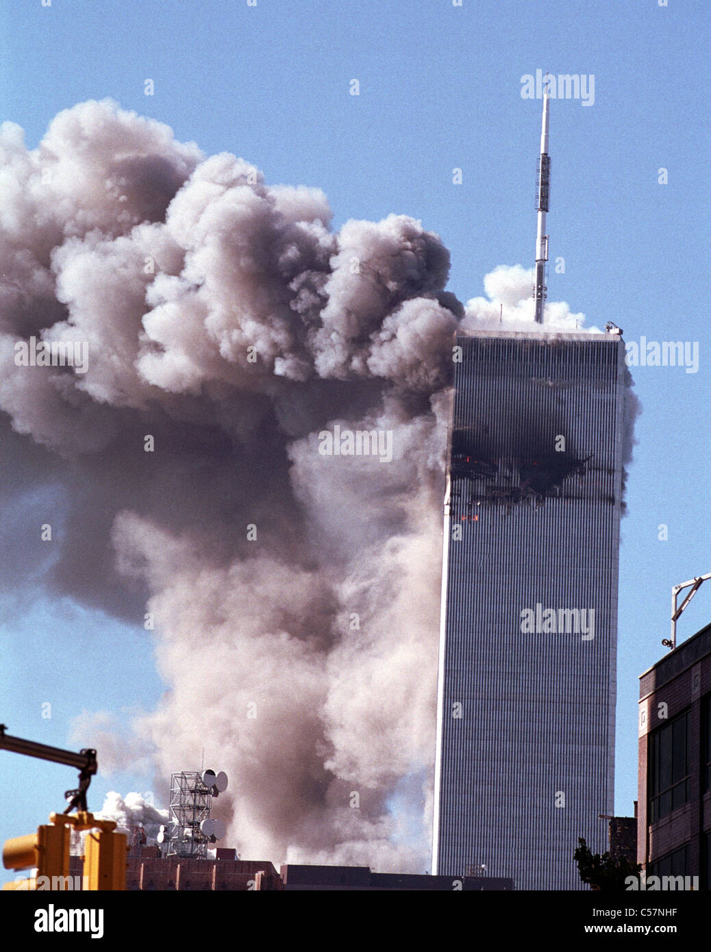 World Trade Center terrorism on September 11, 2001. Tower number two collapses - Stock Image