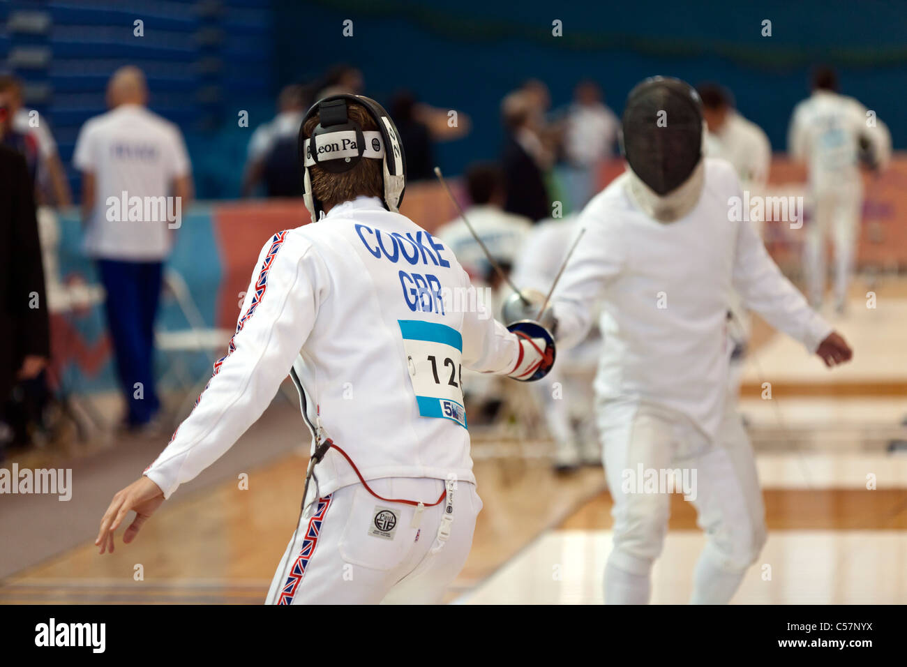 The Fencing Event at the 2011 Modern Pentathlon UIPM World Cup Final, Crystal Palace, London, UK. - Stock Image