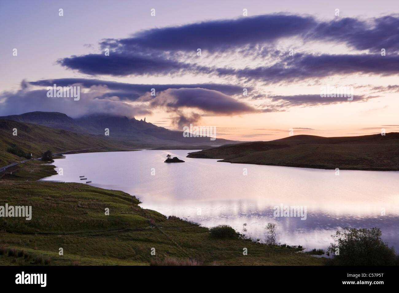 The Old Man of Storr over Loch Fada, Isle of Skye, Scotland, UK. Dawn. Stock Photo