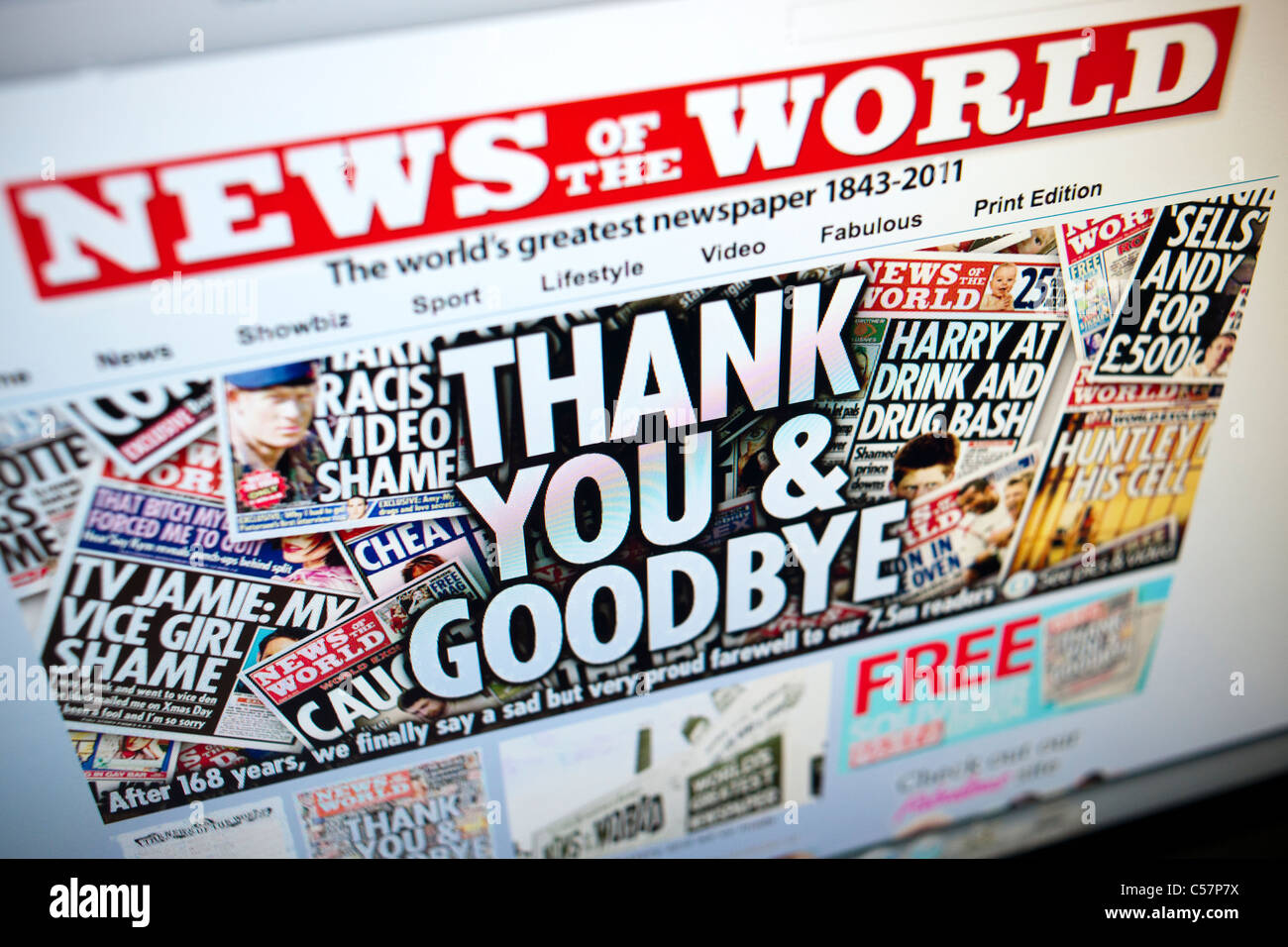 The website of the British tabloid, the News of the World last issue on July 10, 2011 Stock Photo