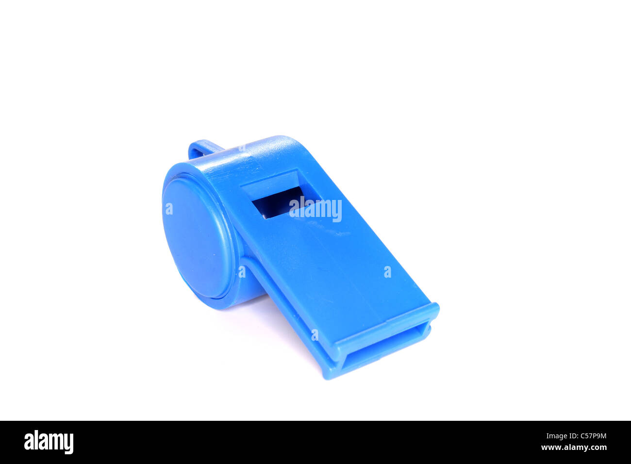 blue Trill whistle on a white background - Stock Image