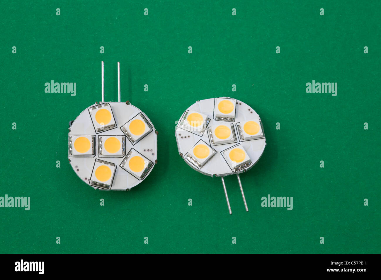 Close up two low power usage 12 volt side fitting LED lights - Stock Image