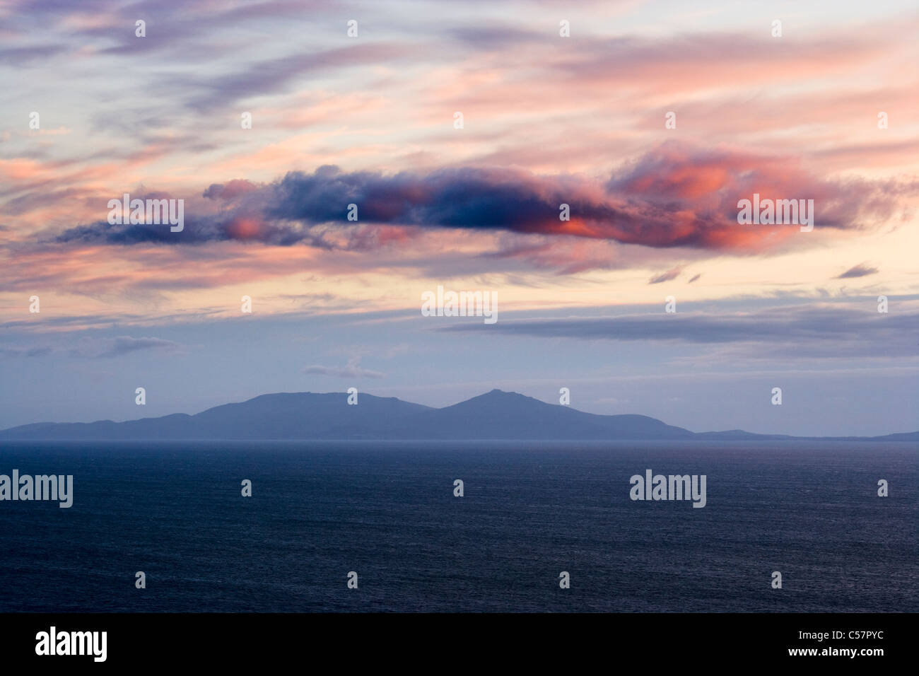 Evening clouds over South Uist from Skye, Scotland, UK. - Stock Image
