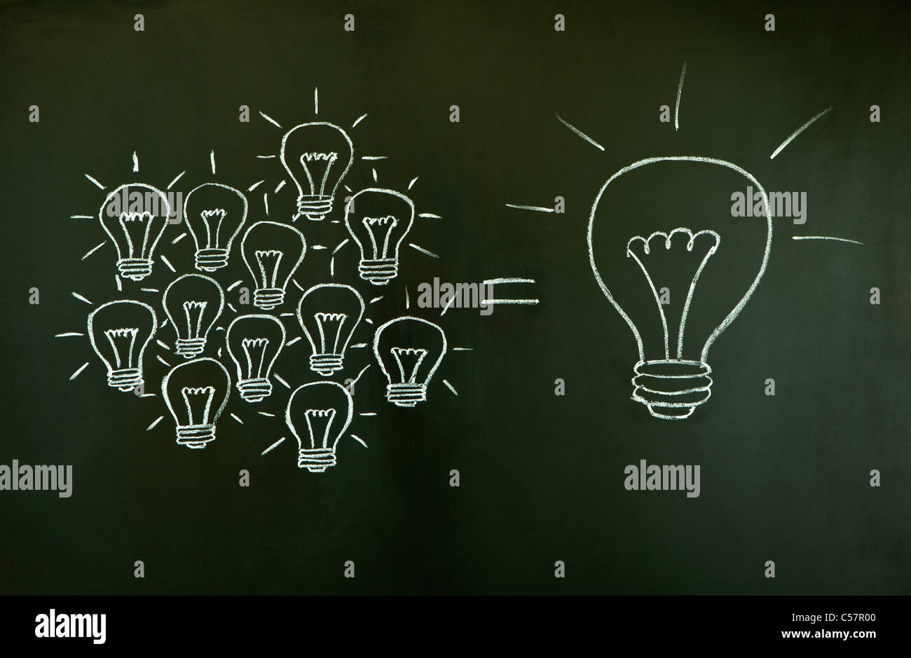 Many small ideas equal a big one, illustrated with chalk drawn light bulbs on a blackboard. - Stock Image