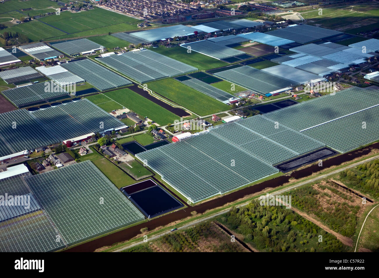 The Netherlands, Pijnacker, Greenhouses. Westland. Aerial. - Stock Image