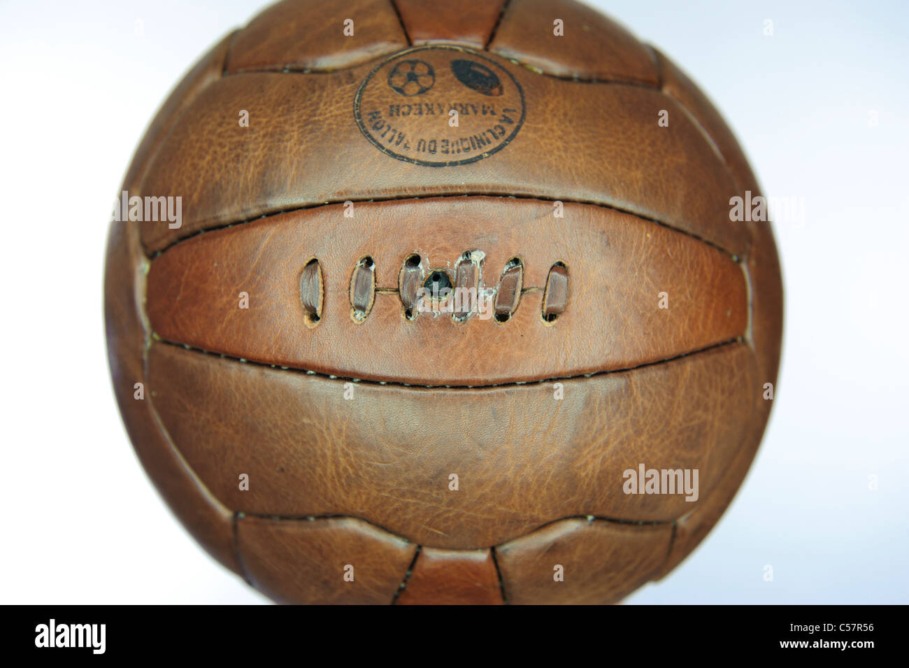 Old fashion leather football. - Stock Image