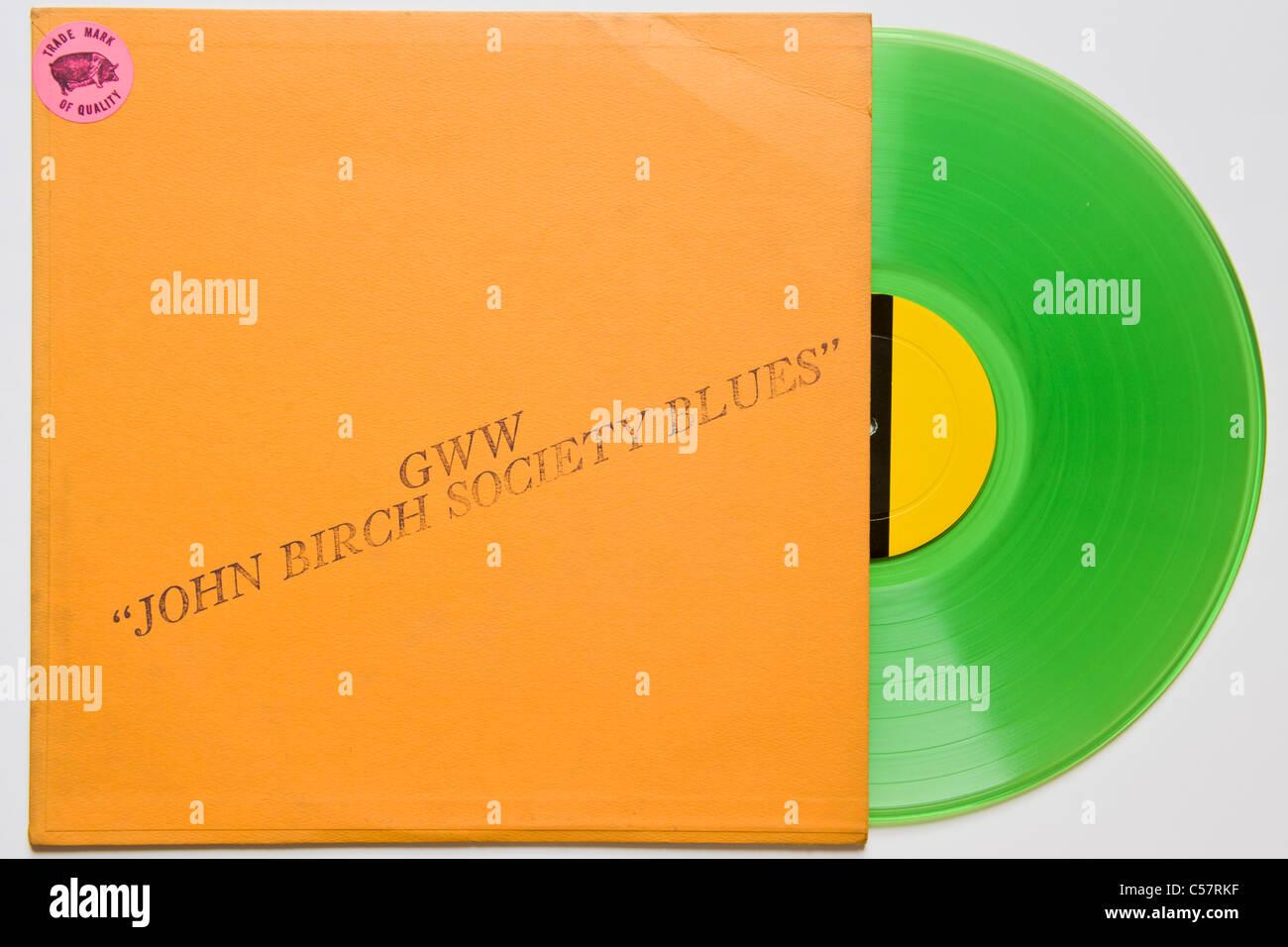Original bootleg recording of John Birch Society Blues Bob Dylan 1961-64 released 1970 on green vinyl concert & Stock Photo