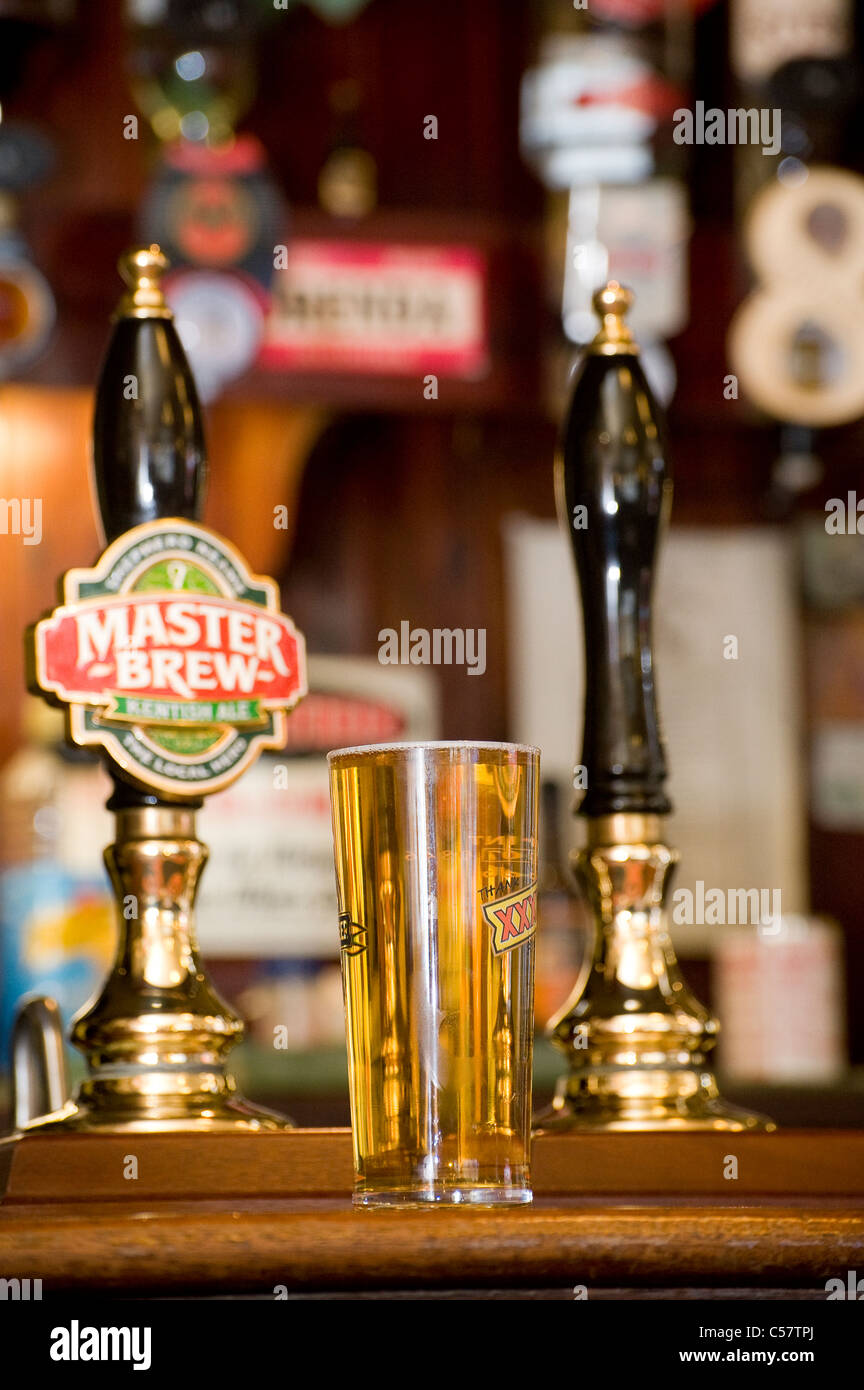 Pint of lager on a pub bar in an English public house. - Stock Image