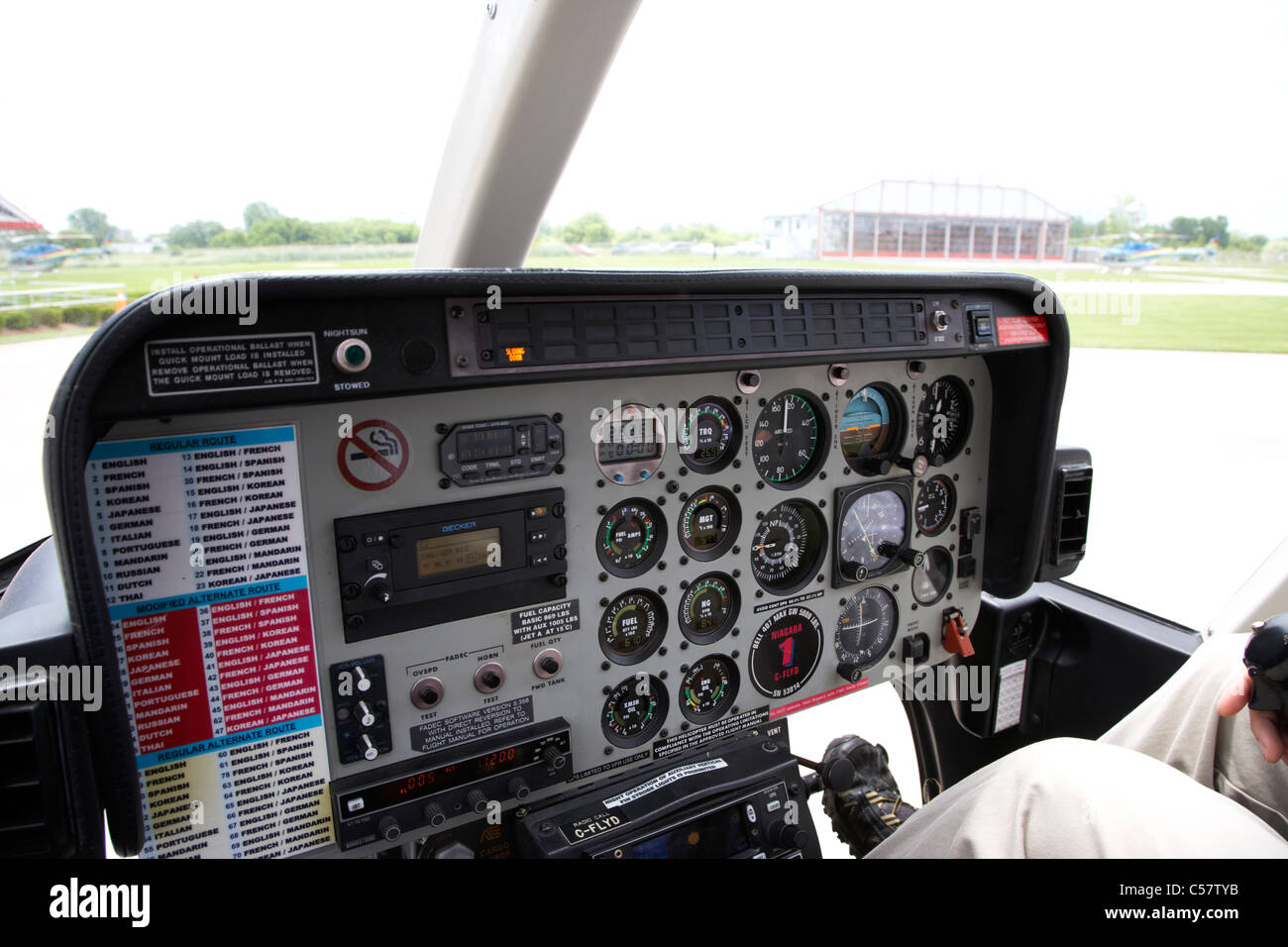 helicopter control panels and instruments niagara falls heliport ontario canada - Stock Image
