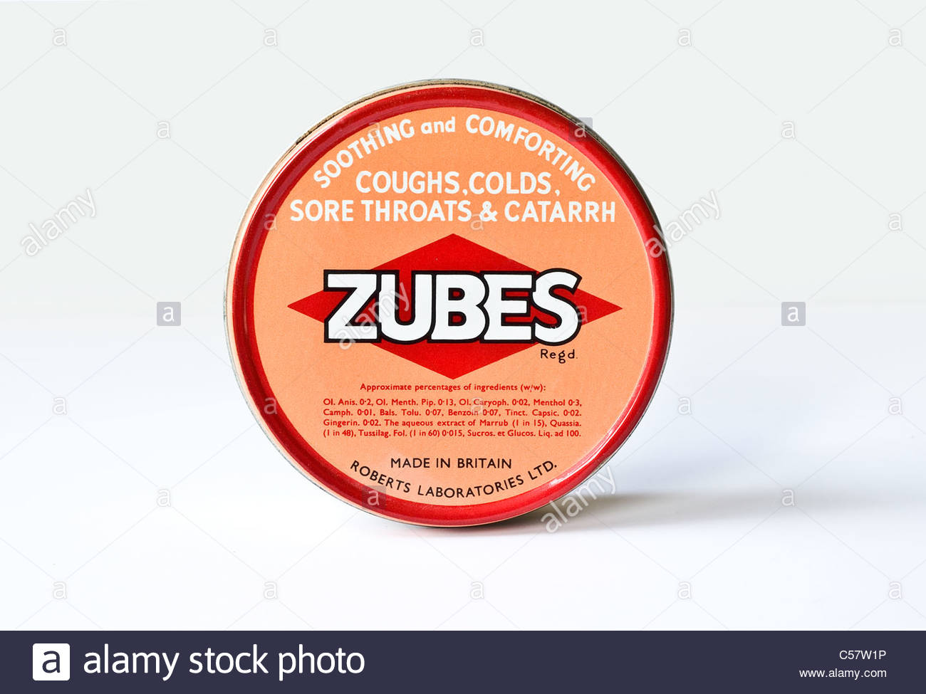A tin of Zubes throat pastilles - Stock Image