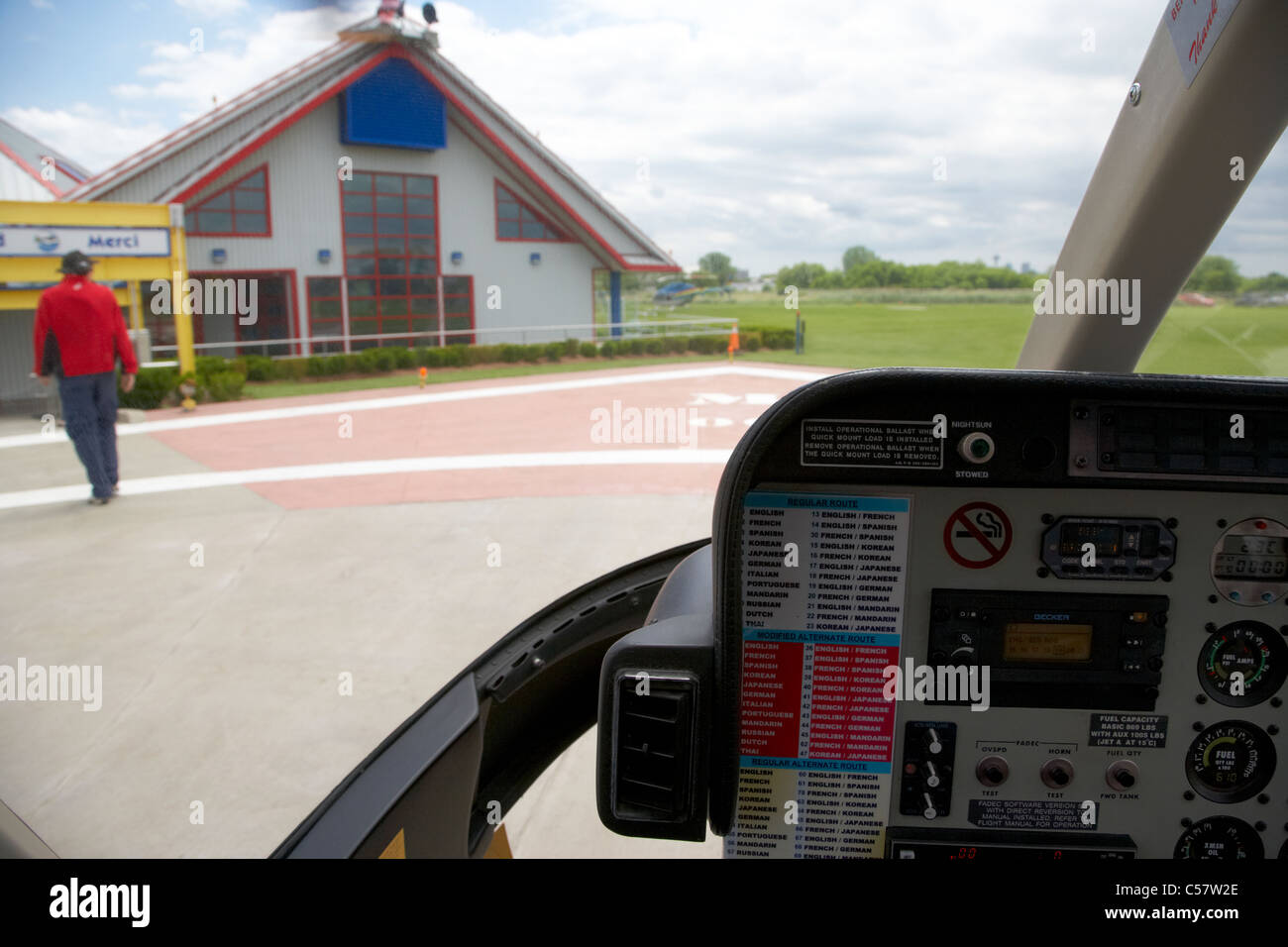 helicopter flight controls at niagara falls helipad ontario canada - Stock Image