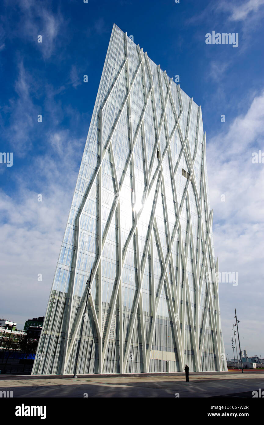 View of a modern building (Telefonica Headquarters) in the Diagonal mar district, Barcelona,Spain Stock Photo