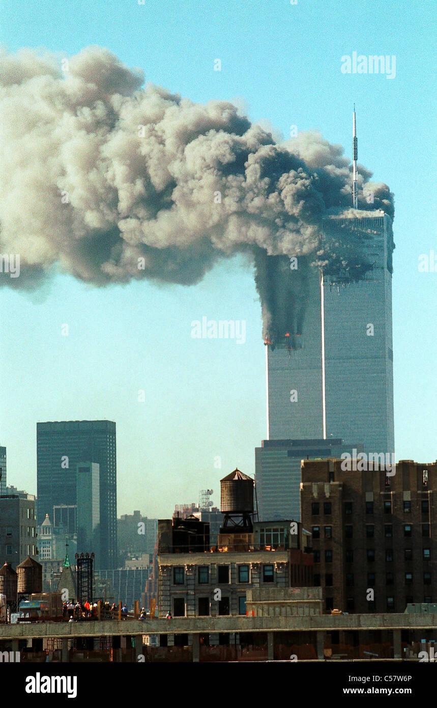 World Trade Center, New York City terrorist attack, September 11, 2001. - Stock Image