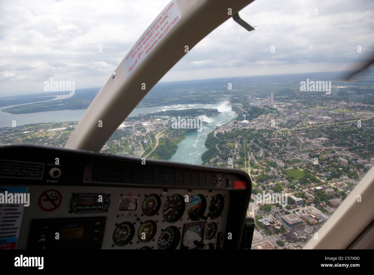 helicopter flight over niagara falls ontario canada - Stock Image