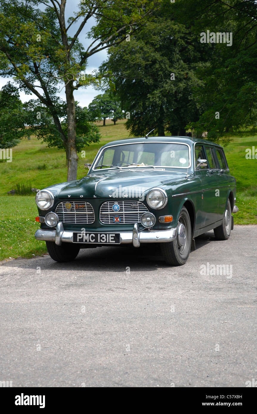 Old Volvo Classic parked car sunny day Stock Photo