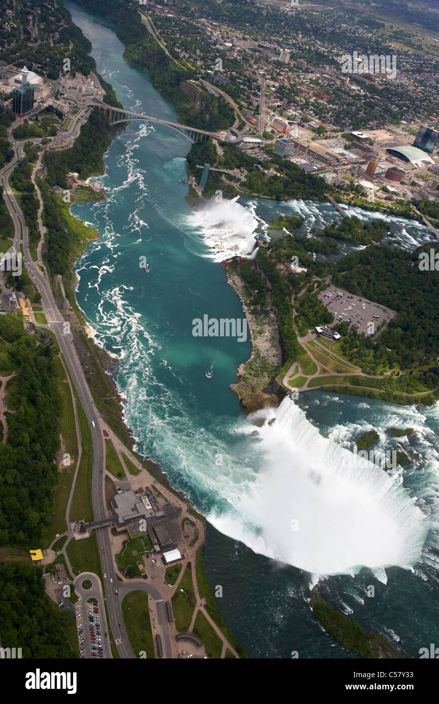 aerial view of helicopter flight over niagara falls area ontario canada - Stock Image