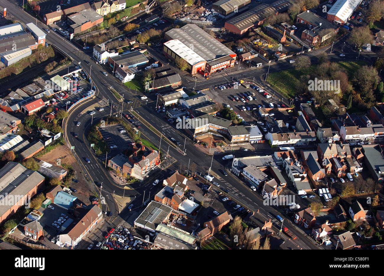 Aerial view of complex road junction in Lye West Midlands Uk - Stock Image