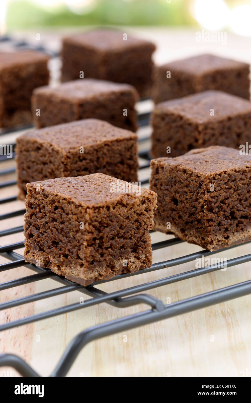 fresh wonderfully moist brownies with a deep fudgy chocolate flavor Stock Photo