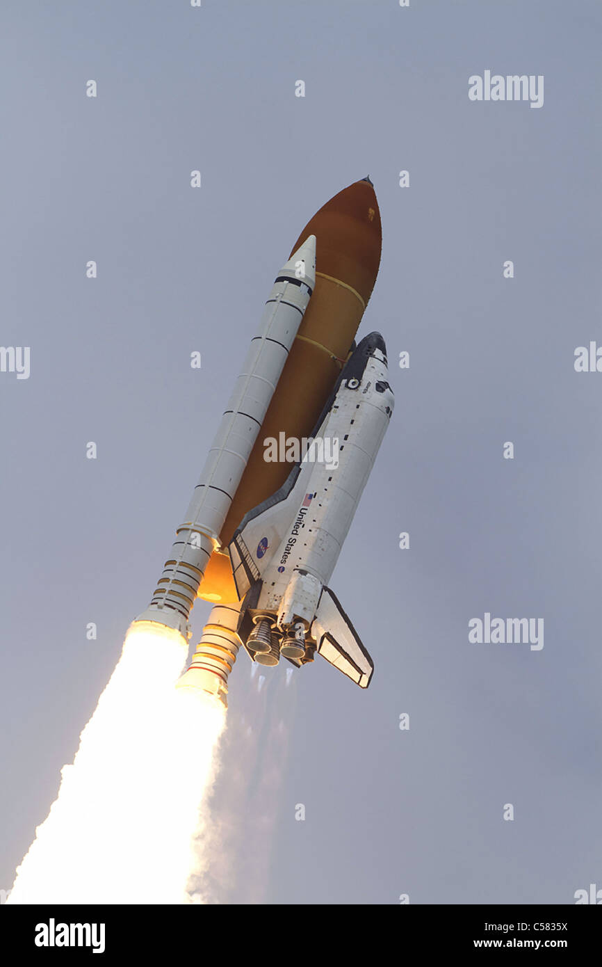 Atlantis STS-135 lifts-off on the final space shuttle mission at NASA's Kennedy Space Center in Florida. Stock Photo