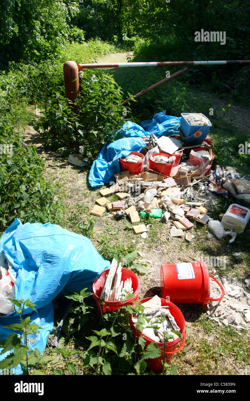Illegal dispose of waste in a forest. - Stock Image