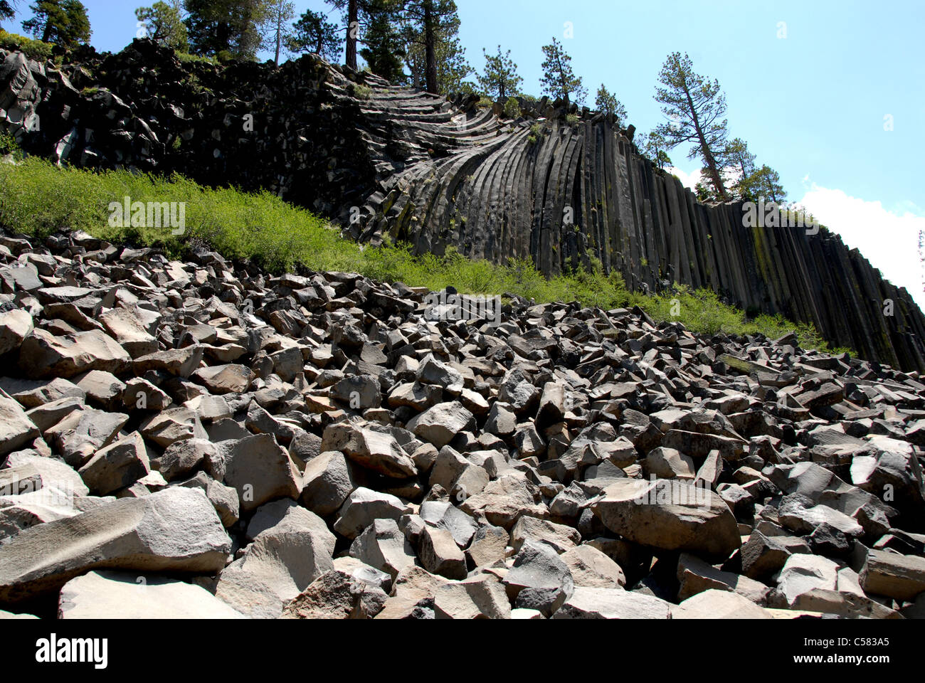 Devils Postpile, National monument, Sierra Nevada, USA, America, California, cliff, structures, stratification, - Stock Image