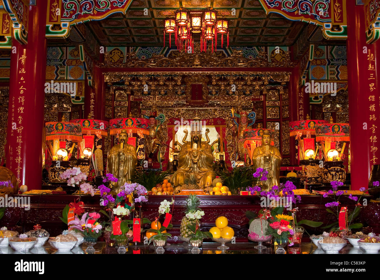 Asia, construction, constructions, portrait format, houses, homes, culture, art craft, pagoda, religion, sacred - Stock Image