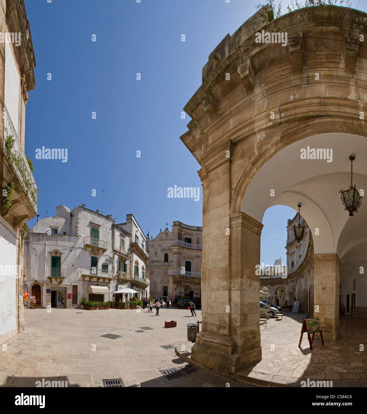 Italy, Europe, I Portici, square, Martina Franca, Puglia, city, village, spring, people, - Stock Image