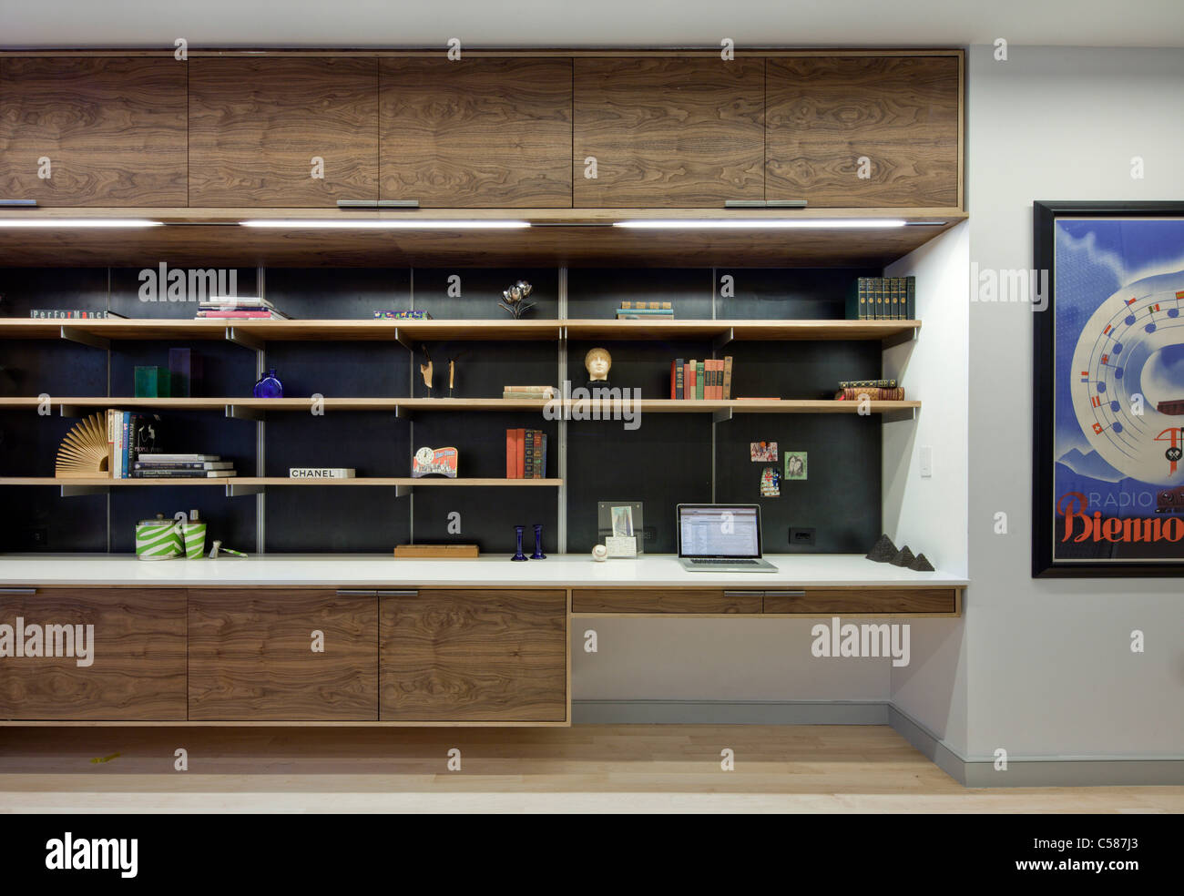modern walnut built in shelving and storage, and desk unit Stock ...