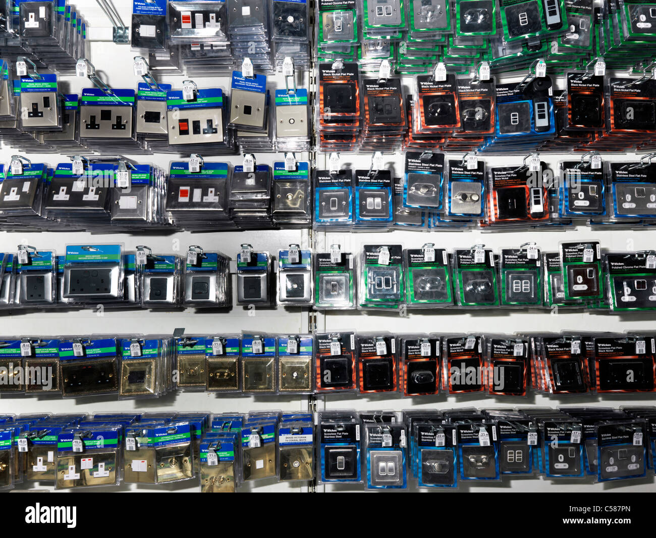 Electrical Fitting On Shelves In D I Y Store Switches And Sockets