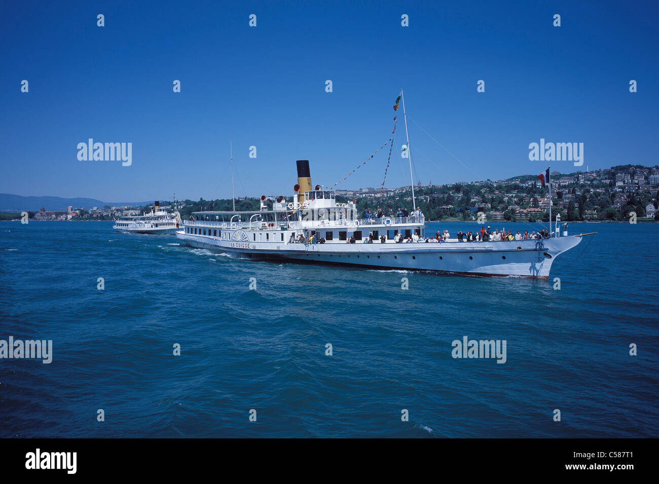 Ships, ship, C.G.N, paddle steamer, steamboat, summer, blue, Lac Léman, lake Geneva, lake, ship, ships, ship, - Stock Image