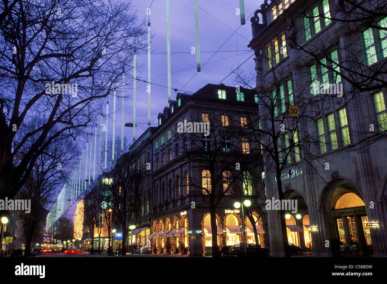 Switzerland, Europe, building, market, Christmas, Winter, night, Bahnhofstrasse, old town, city, Zurich, - Stock Image