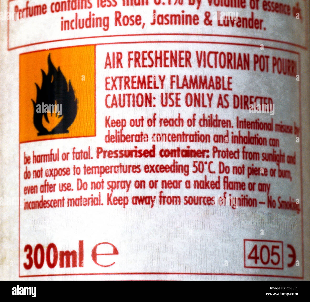 Warning Label On Air Freshener And Flammable Symbol - Stock Image