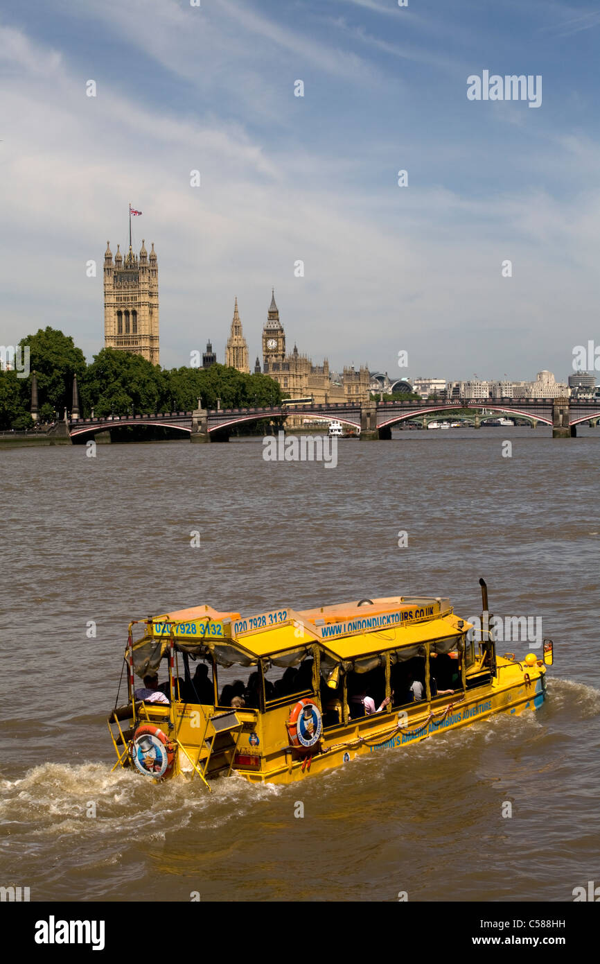 london duck tours river thames london england - Stock Image