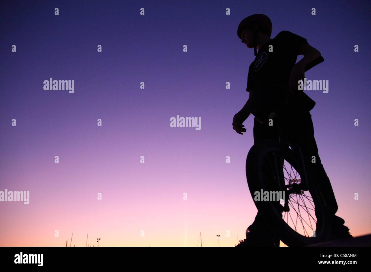 BMX bike, biker, bicycle, Greece - Stock Image