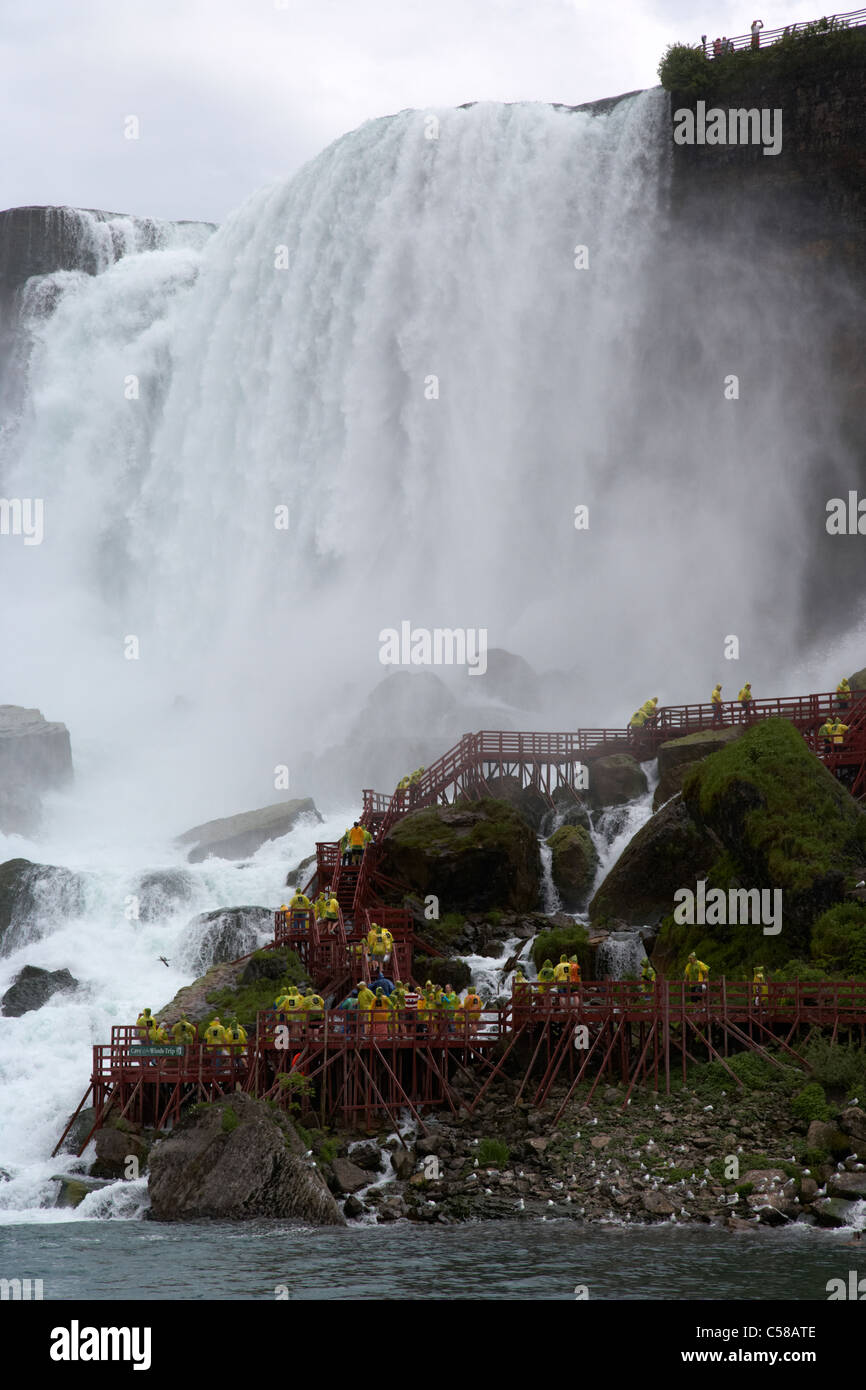 american falls with cave of the winds walkway niagara falls new york state usa - Stock Image