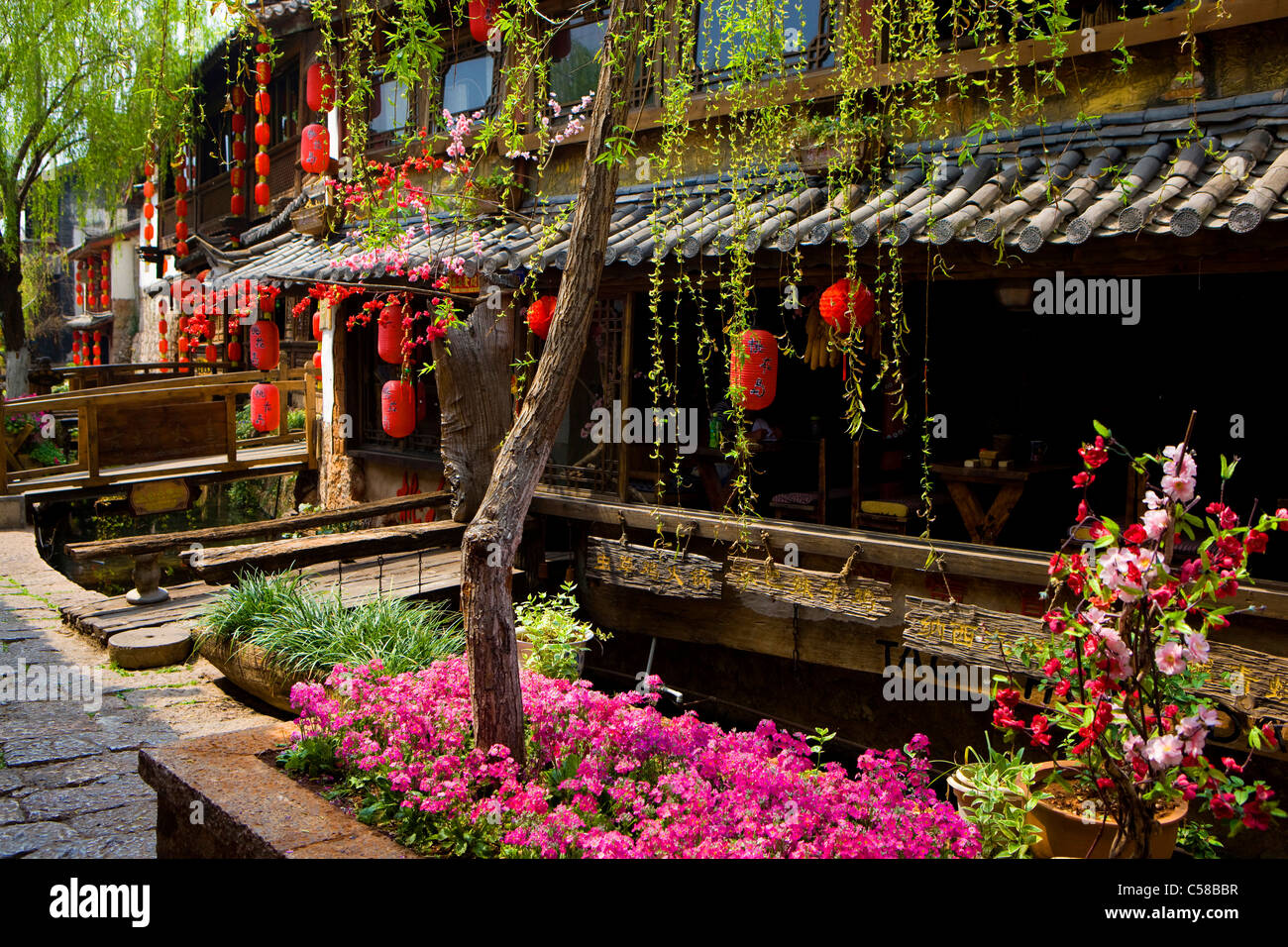 Lijang, China, Asia, town, city, Lijang, Old Town, lane, floral decoration, Lampions, red, culture - Stock Image