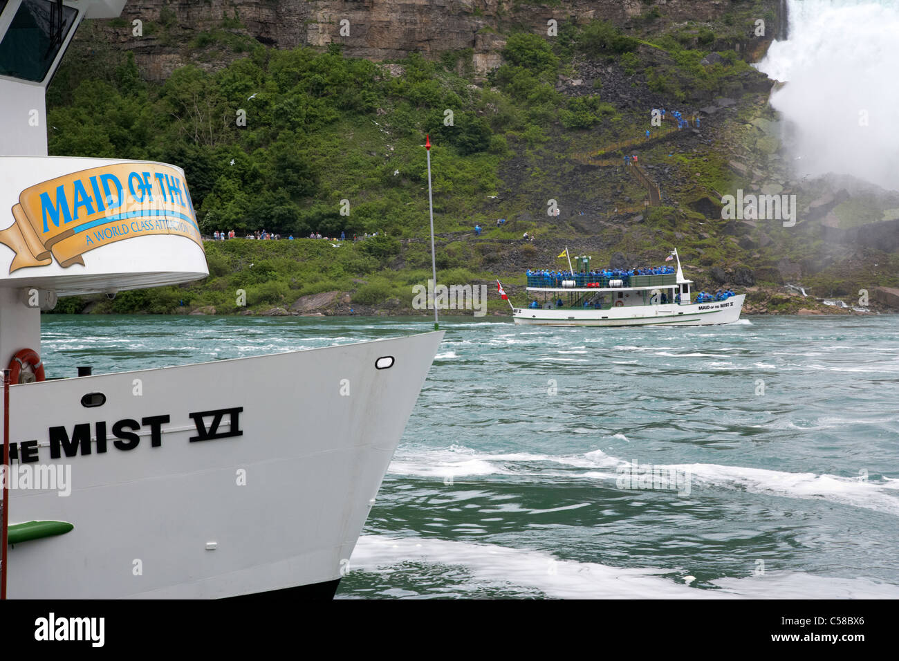 maid of the mist boats niagara falls ontario canada - Stock Image