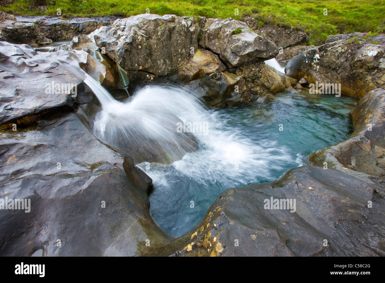 Fairy pools, Great Britain, Scotland, Europe, island, isle, Skye, brook, rock, cliff, erosion, waterfall - Stock Image