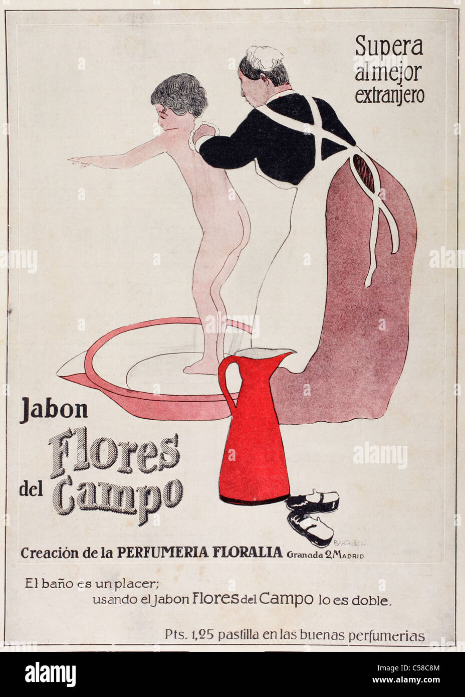 Colour press advertisement for jabon Flores de Campo. (Flowers of the Field soap). - Stock Image