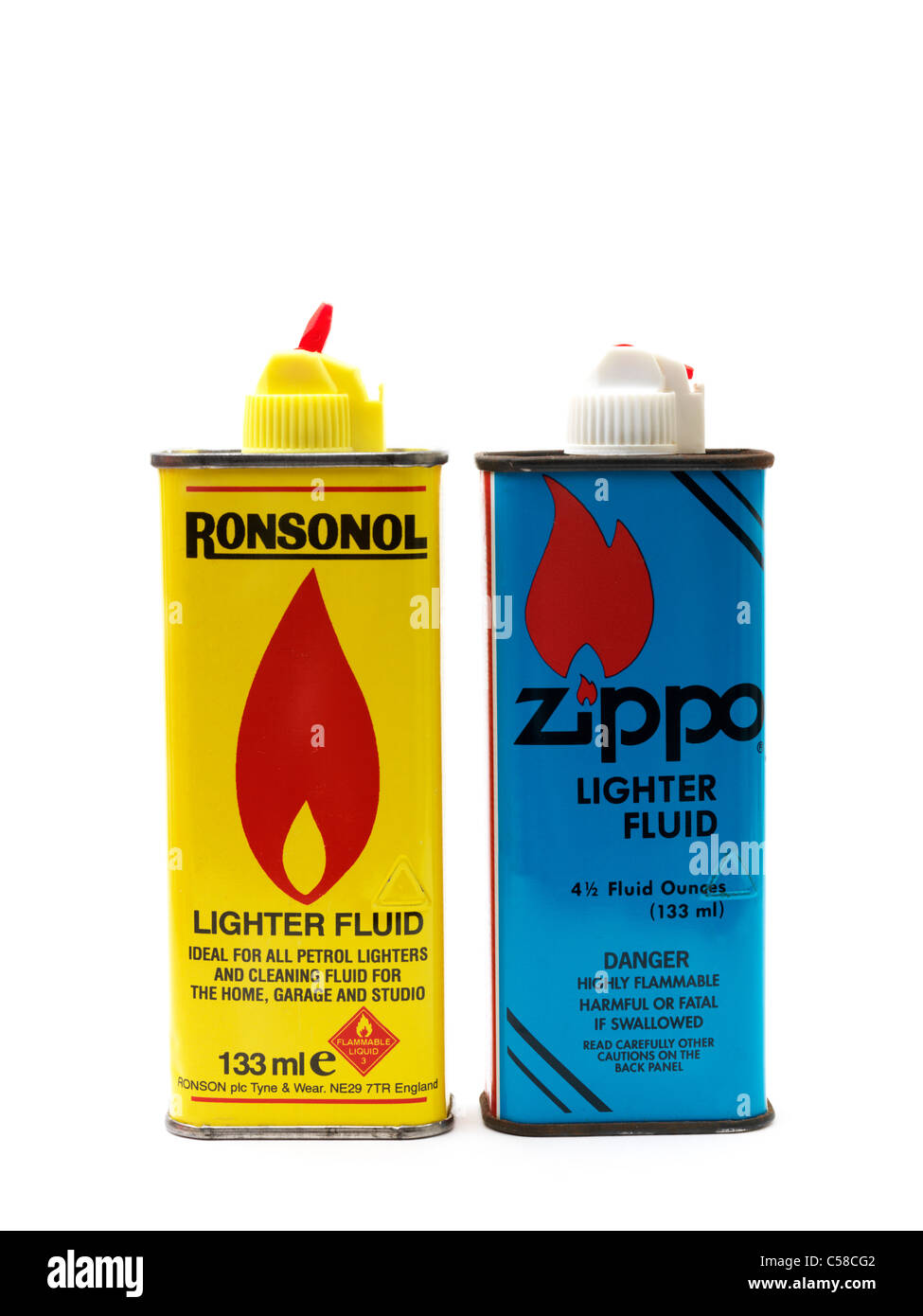 Cans Of Lighter Fluid Ronsonol And Zippo - Stock Image