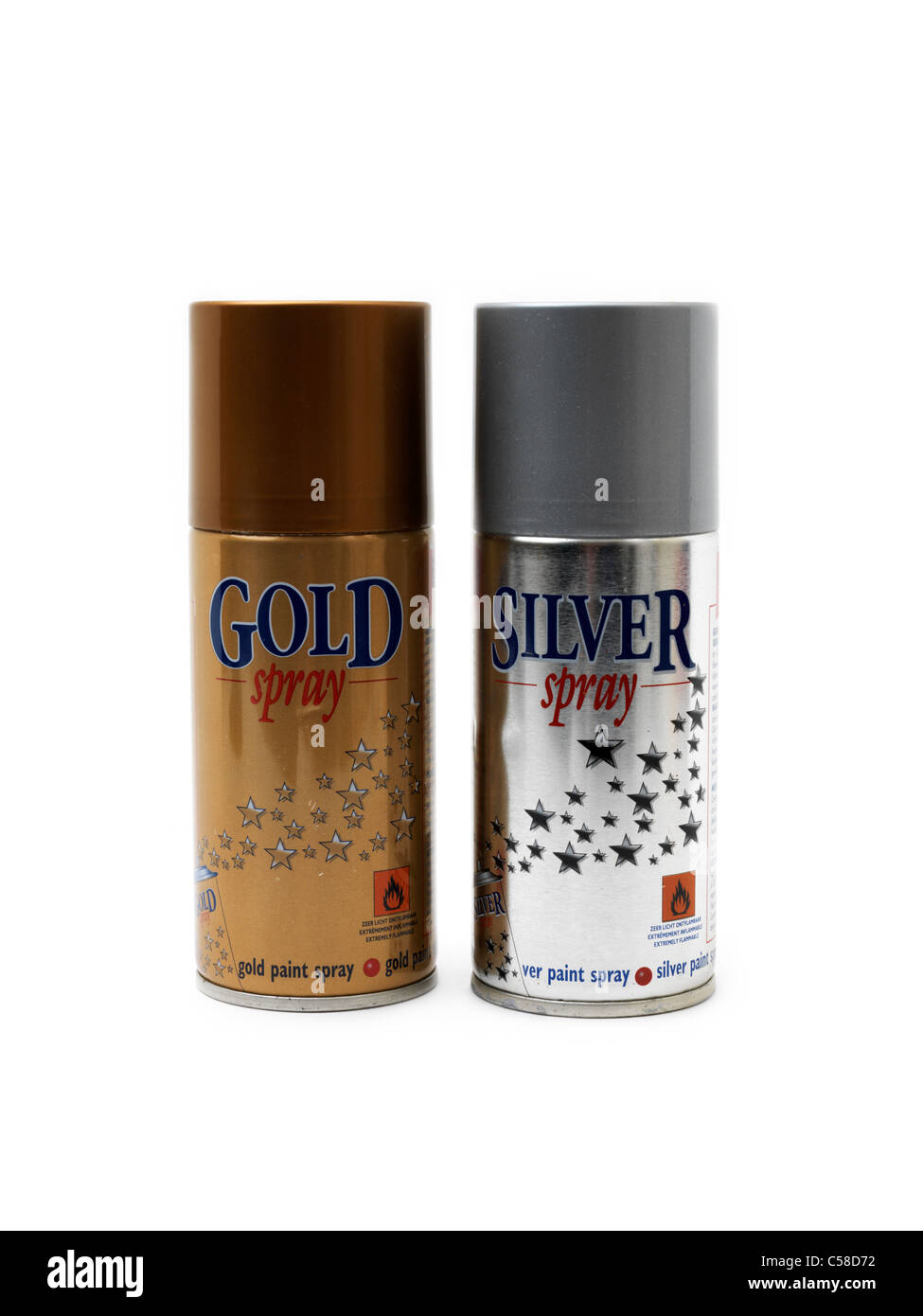Silver And Gold Spray Paint Sometimes Used As An Inhalant - Stock Image