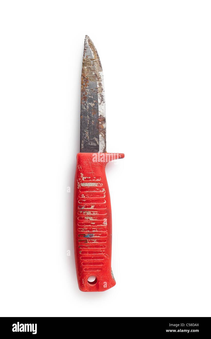 Swedish red mora knife - Stock Image